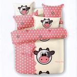 Hua Shin【牛牛的幸福時光】雙人 柔絲絨 涼被床包組