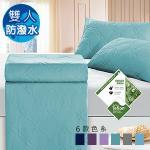 J-bedtime《幸運藤-湖水綠》 杜邦防潑水X防蹣抗菌床包式保潔墊-雙人