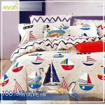 【eyah宜雅】雙人四件式-100%精梳純棉舖棉涼被床包組-DL-新陽光海岸