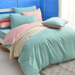 英國Abelia《漾彩混搭》單人三件式天使絨被套床包組-綠*桔