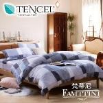 原售2680元↘【梵蒂尼Famttini-旅人格調】雙人四件式頂級純正天絲兩用被床包組