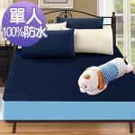 J-bedtime《時尚雙藍》3M吸濕排汗X防水透氣網眼布床包式保潔墊-單人