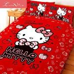 Luna Vita 台灣製造正版授權卡通品牌 床包被套四件組(KT貼心小物(紅))