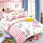 Royal Literie 《漫步。兔兔》 精梳純棉雙人兩用被床包四件組