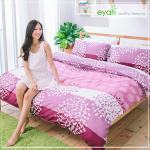 【eyah】頂級極細柔絲綿雙人加大床包涼被4件組-雨後繡球花