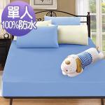 J-bedtime《時尚藍》3M吸濕排汗X防水透氣網眼布床包式保潔墊-單人