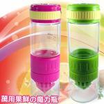 【AKWATEK】3in1多功能玻璃現榨水果搖搖瓶/一入(顏色隨機)