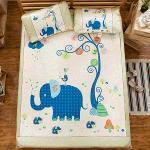 頂級網眼涼感卡通冰絲蓆 雙人套組 (150X188cm) 大象寶寶