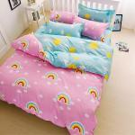 Lapin 夢見彩虹 台灣製造活性印染磨毛雙人床包被套四件組