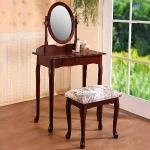 《Homelike》古典歐風化妝桌椅組-胡桃色