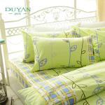 DUYAN《1+1超值組》100%純棉床包組—單人+ 黃金級抗菌枕 (多款花色)(床包(綠意盎然)+抗菌枕)