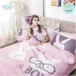 【obis】100%純棉雙人5X6.2尺床包兩用被組-甜蜜夢遊