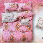 原售1380元↘【塔妮雅】花韻幽香。雙人純棉四件式被套床包組(粉)