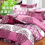 J-bedtime《發財樹》 質感加厚雲絲絨六件式舖棉床罩組-加大
