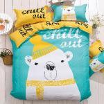 生活提案 大版面柔絲絨 北極熊 加大四件式被套床包組 豐富變化三版花色