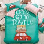 生活提案 大版面柔絲絨 夢幻旅行 雙人四件式兩用被床包組 豐富變化三版花色