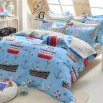 義大利Fancy Belle《海洋探險》單人三件式防蹣抗菌舖棉兩用被床包組
