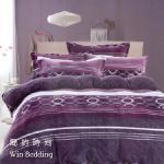 ~韋恩寢具~法蘭絨暖暖時光被套鋪棉床包組~雙人 簡約