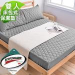 3M防潑水《深灰》床包式保潔墊-雙人