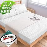 3M防潑水《純白》床包式保潔墊-加大