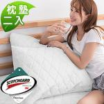 3M防潑水《純白》枕頭專用保潔枕墊-二入
