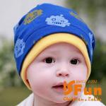 【iSFun】機器人印花*假兩件式嬰兒棉帽/二色可選(藍)