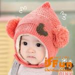 【iSFun】精靈球球*刷毛保暖固定護耳帽/二色可選(粉)