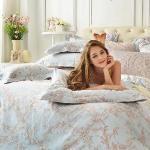 義大利La Belle《微光絮語》加大貢緞四件式防蹣抗菌舖棉兩用被床包組
