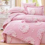 Royal Literie《花蔓舞-粉》100%天絲 加大四件式兩用被套床包組