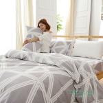 DUYAN《酷淨風尚》天然嚴選純棉雙人加大四件式兩用被床包組