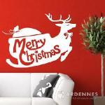 Christine聖誕節慶佈置/牆貼/玻璃貼/MA021浪漫雪橇(白色)