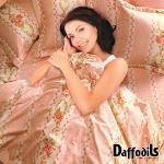 Daffodils《 璀璨古典》雙人五件式純棉兩用被床罩組.花素床裙款