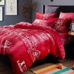 生活提案-法蘭絨 單人三件式 兩用毯被套舖棉床包組-甜蜜依戀(紅)
