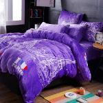 生活提案-法蘭絨 雙人四件式 兩用毯被套舖棉床包組-甜蜜依戀(紫)