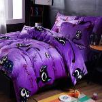 生活提案-法蘭絨 加大四件式 兩用毯被套舖棉床包組-貓的報恩