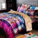 生活提案-法蘭絨 加大四件式 兩用毯被套舖棉床包組-泰迪寶貝