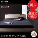 JP Kagu 附床頭櫃與插座貼地型木紋床組-連結式彈簧床墊(硬式)雙人(二色)(橡木白)