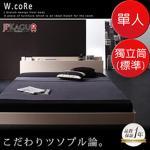 JP Kagu 附床頭櫃與插座貼地型木紋床組-獨立筒床墊(標準)單人(二色)(橡木白+象牙色)
