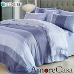 【AmoreCasa】藍調時光100%TENCEL天絲雙人兩用被舖棉床包組