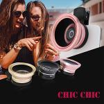 0.45X+12.5微距 多層鍍膜 防反光無黑邊 超廣角二合一鏡頭(粉紅色)