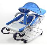 Babybabe 強化雙管加寬型彈搖床(天空藍)-附蚊帳