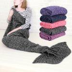 童話物語 美人魚尾保暖針織毛毯/懶人毯/冷氣毯 (灰色)