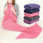 童話物語 美人魚尾保暖針織毛毯/懶人毯/冷氣毯 (粉紅)