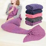 童話物語 美人魚尾保暖針織毛毯/懶人毯/冷氣毯 (紫紅)