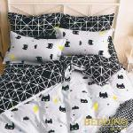 【BEDDING】活性印染雙人四件式舖棉床包兩用被組-超人面具