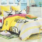 【BEDDING】活性印染雙人四件式舖棉床包兩用被組-奧格麗