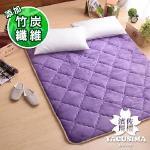 【濱川佐櫻-原色深紫】嚴選加大高彈力透氣法蘭絨床墊