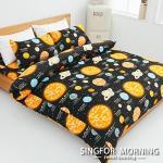 幸福晨光《星旅航行-黑》高織密頂級純棉雙人四件式床包被套組