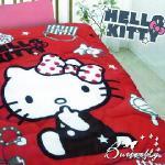 【HELLO KITTY】 凱蒂貓搖粒絨暖暖被 時尚寶盒-紅