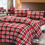 【BUTTERFLY】 抗寒暖呼呼 搖粒絨雙人床包被套組 英格蘭紅